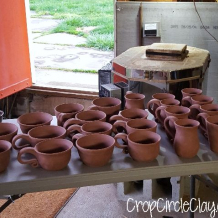 Dry pots next to the kiln